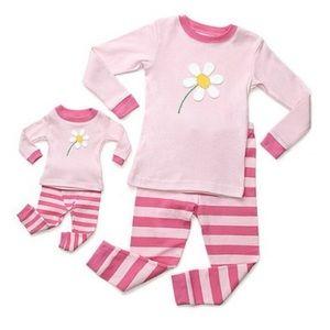 Leveret girls long pajama & doll set/pink daisy